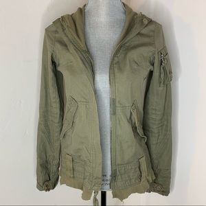 BB Dakota Womens  Military Jacket Distressed Army